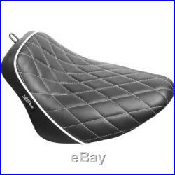 Le Pera Bare Bones White Diamond Stitch Solo Seat Harley Softail 18+ FLSL FXBB
