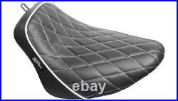 Le Pera Black Bare Bones Solo Seat White Diamond Stitch Harley M8 Softail 18-21