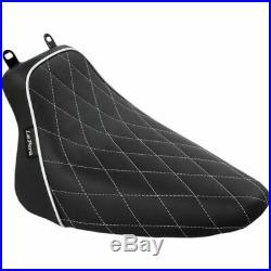 Le Pera LXE-007 DMW White Diamond Stitch Bare Bones Solo Seat 08-17 Harley FLST