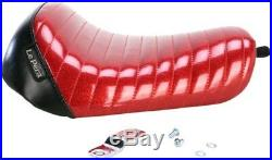 Le Pera Pleated Red Bare Bones Solo Seat 10-14 Harley Sportster LK-006RMFPT
