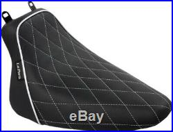 Le Pera White Diamond Stitch Bare Bones Solo Seat 2008-17 Harley Softail FLSTC/N
